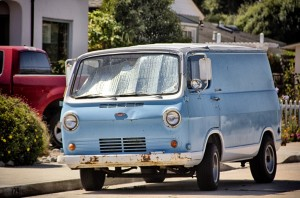 light blue van